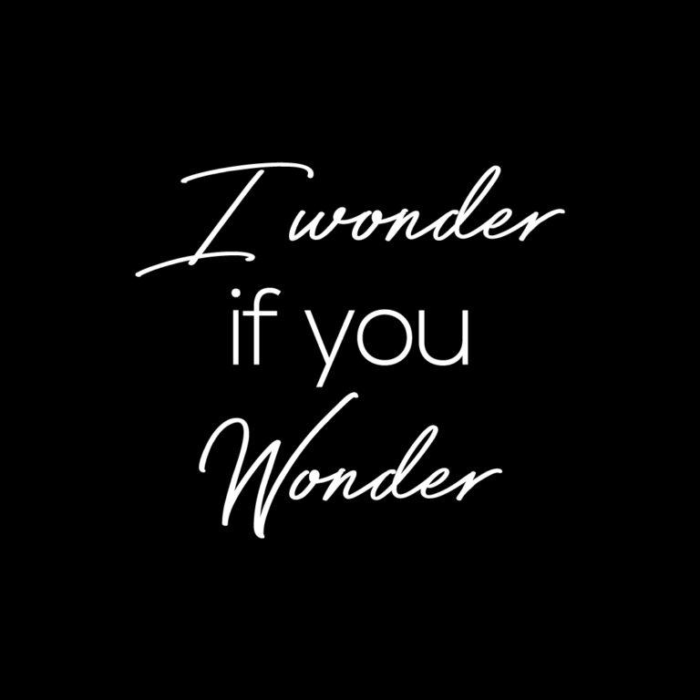 I wonder if you wonder | Life Quotes