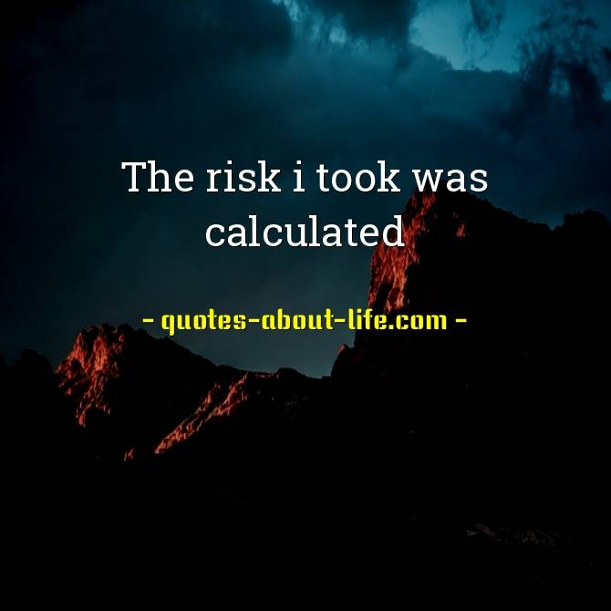 The risk I took was calculated | Best Risk Quotes
