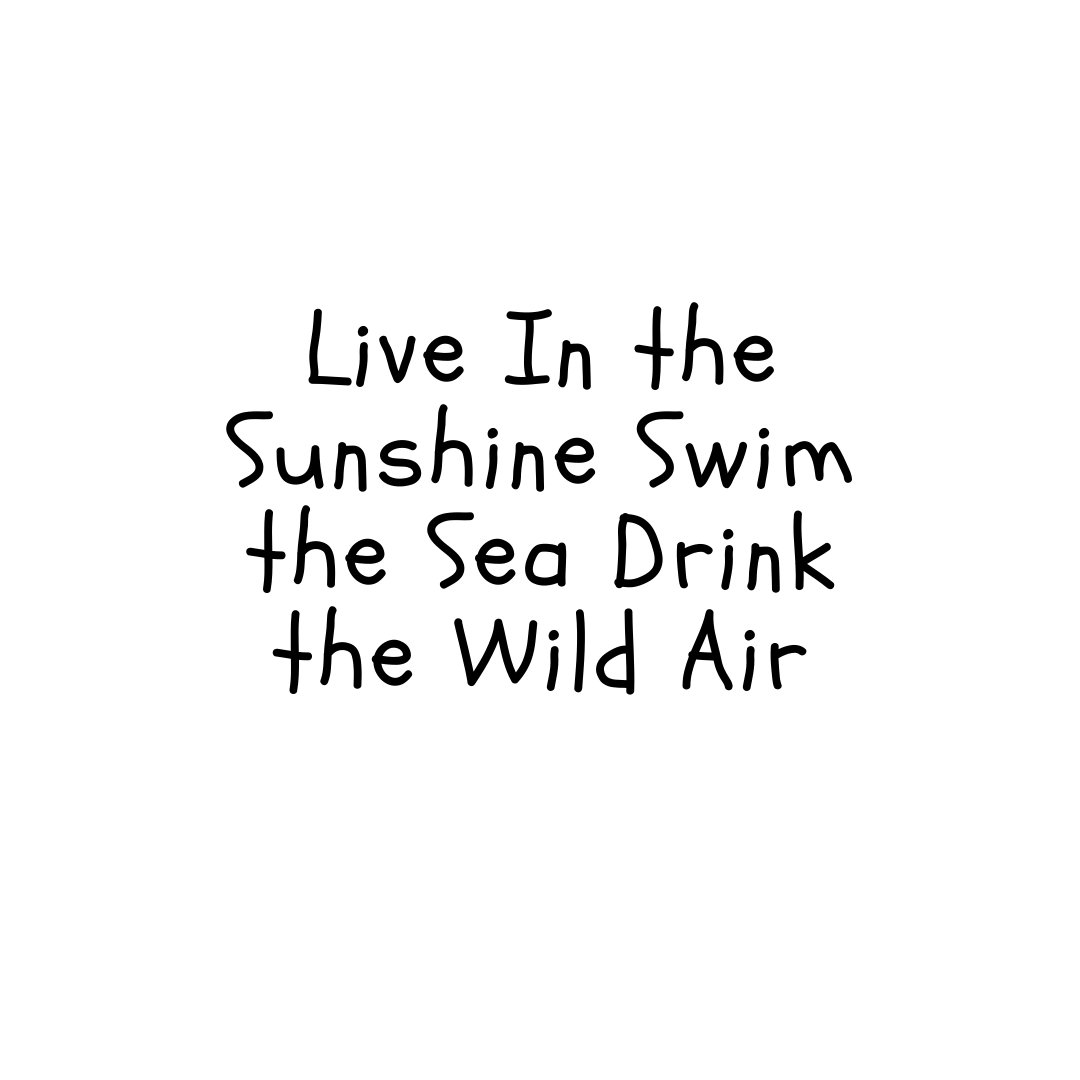 Life is the Sunshine Swim The Sea Drink the Wild Air