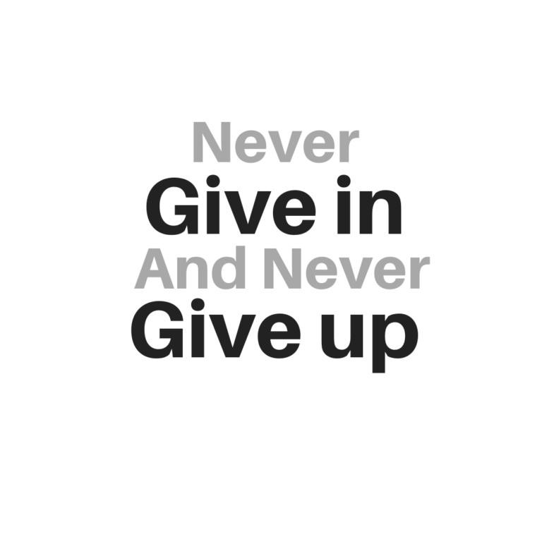 Never Give In and Never Give Up | Never Give Up Quotes