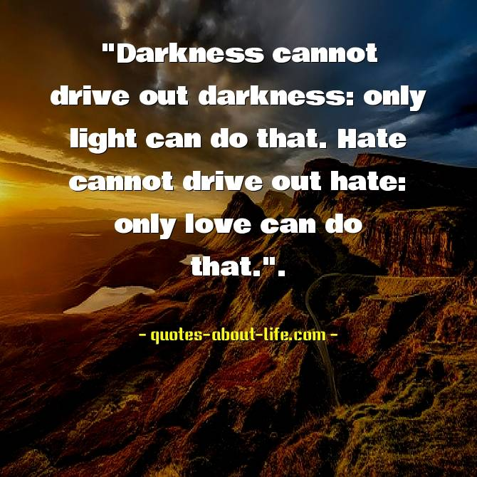 Darkness cannot drive out darkness: only light can do that. Hate cannot drive out hate: only love can do that.