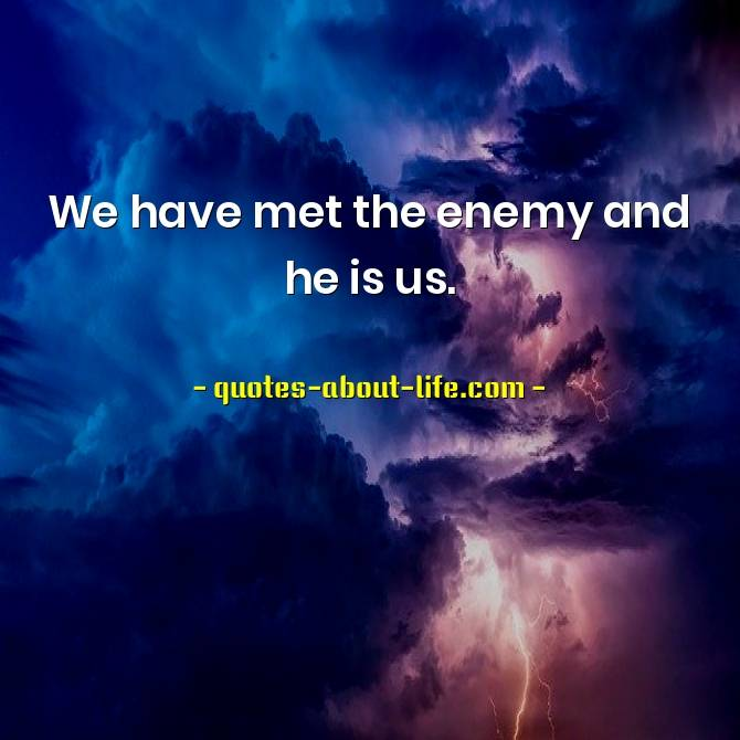 We have met the enemy and he is us