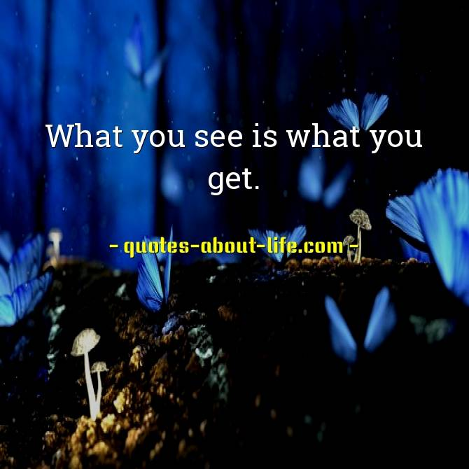 What you see is what you get