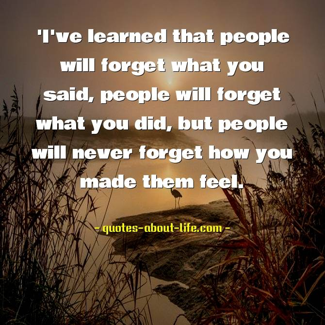 People will forget what you said | Maya Angelou Quotes