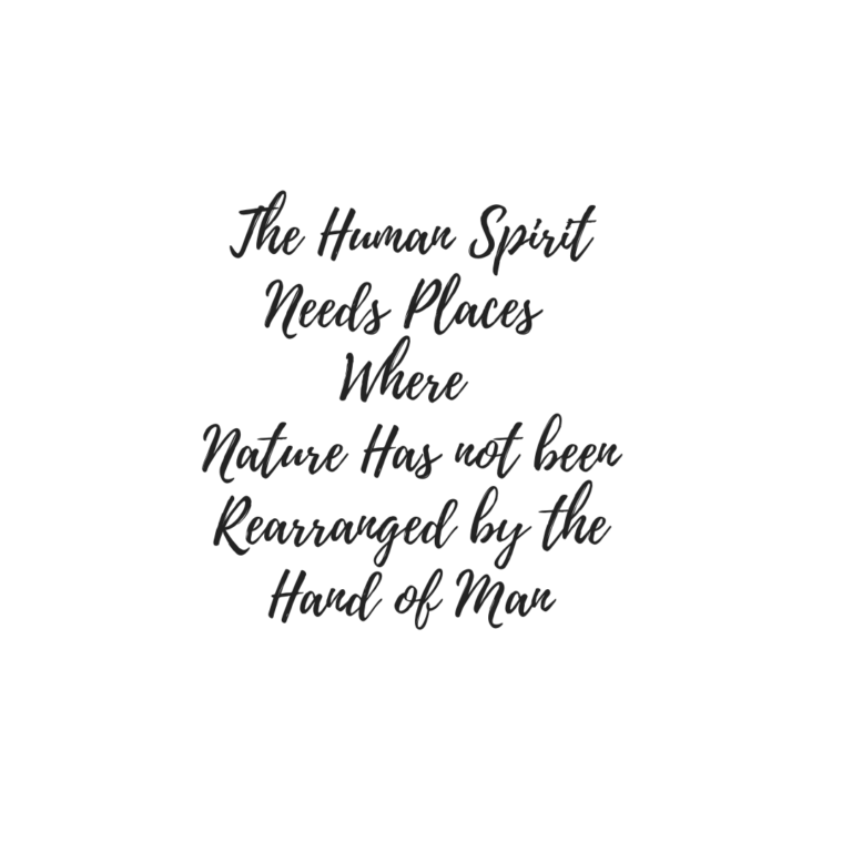 The human spirit needs places where nature has not been re-arranged by the hand of man